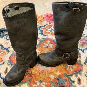 Frye Vera Tall Slouch Boots Black Calfskin Leather